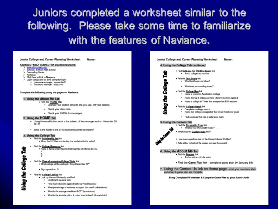 Juniors completed a worksheet similar to the following.