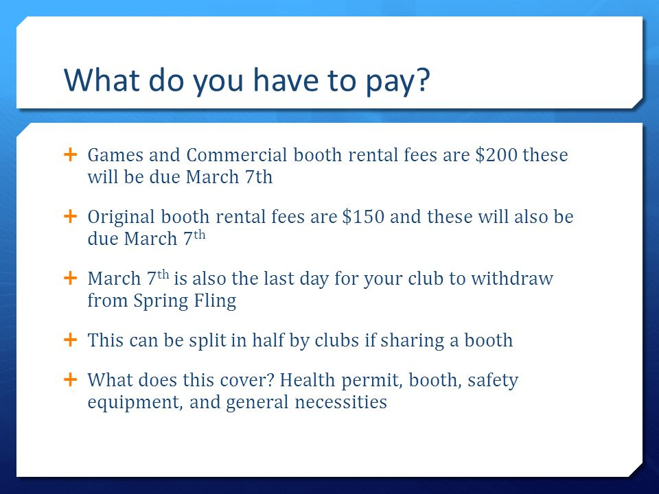What do you have to pay?  Games and Commercial booth rental fees are $200 these will be due March 7th  Original booth rental fees are $150 and these