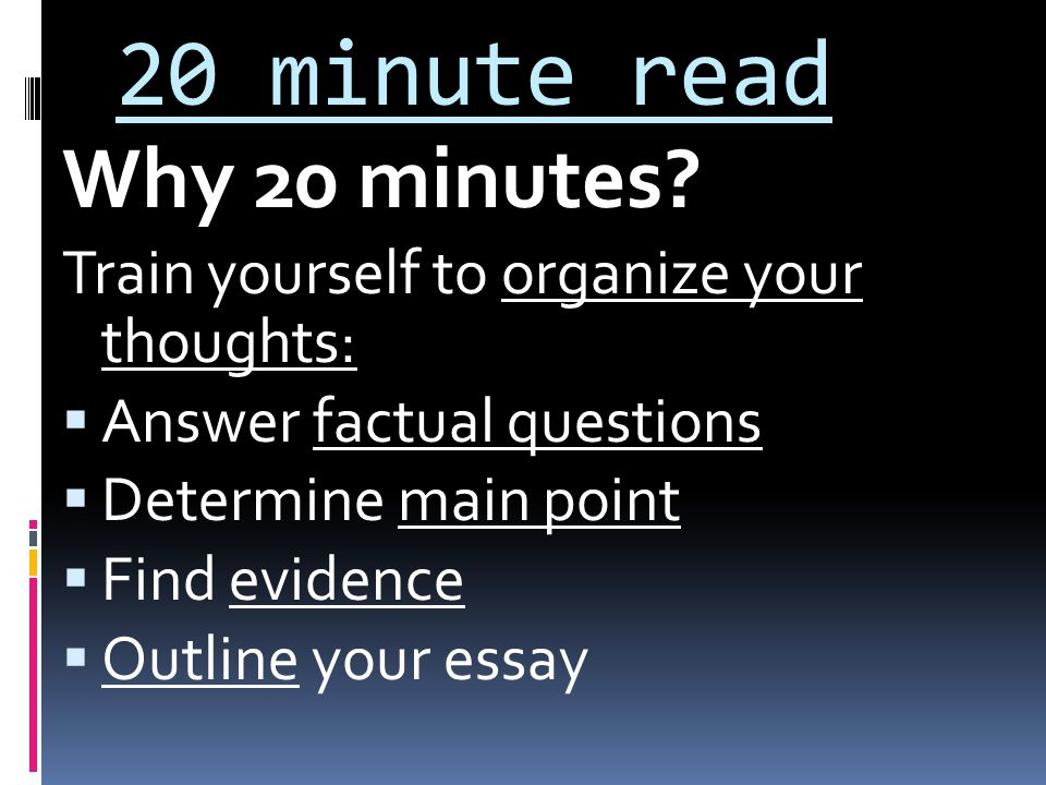 20 minute read Why 20 minutes.