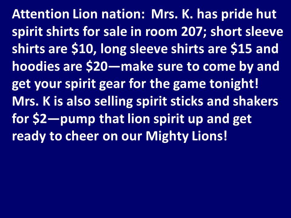 Attention Lion nation: Mrs. K.