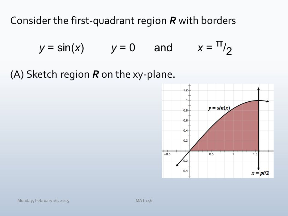 Monday, February 16, 2015MAT 146 Consider the first-quadrant region R with borders y = sin(x)y = 0andx = π / 2 (A)Sketch region R on the xy-plane.