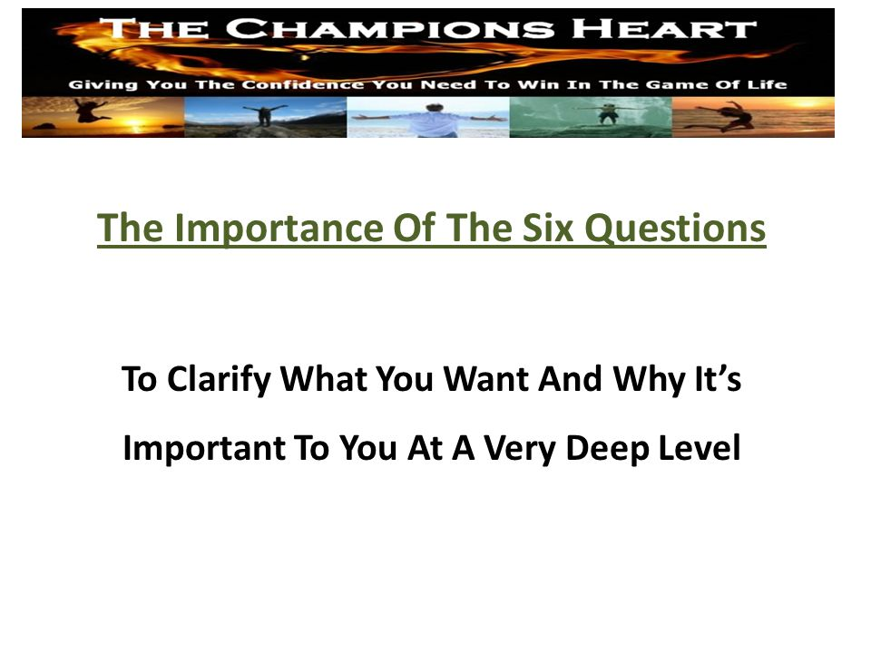 An Opportunity For You www.TheChampionsHeart.com