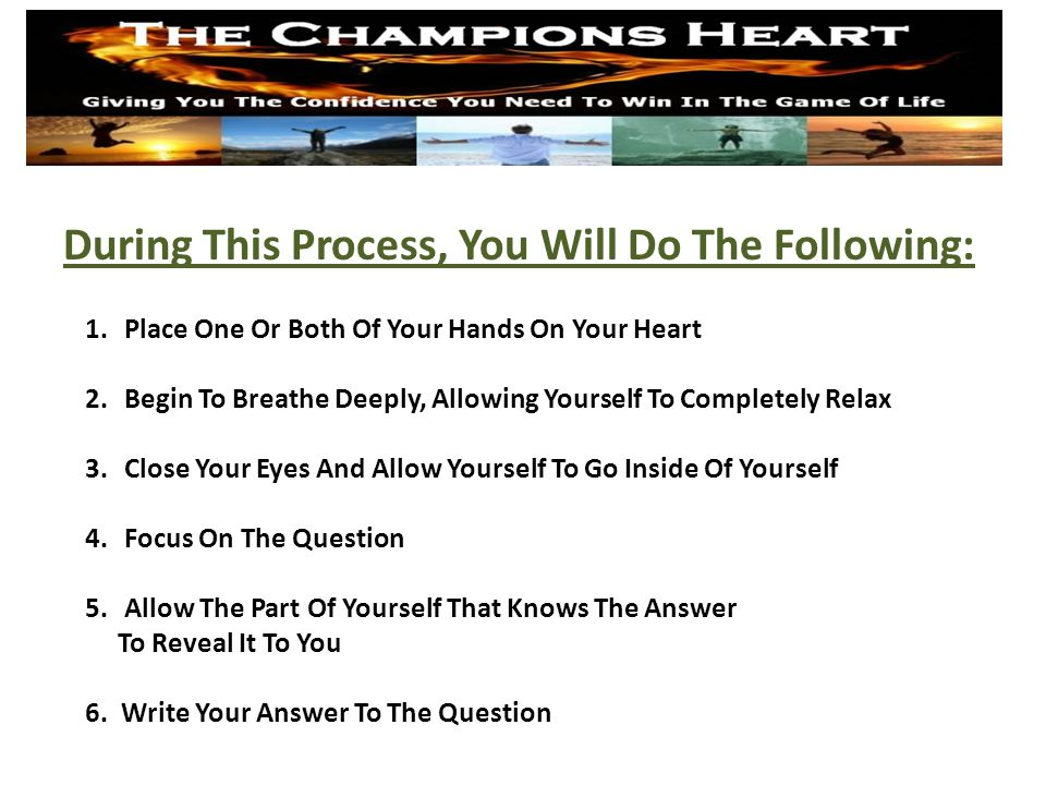 Question #1 What Do You Want? www.TheChampionsHeart.com