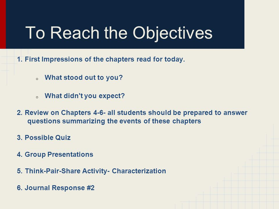 To Reach the Objectives 1. First Impressions of the chapters read for today.