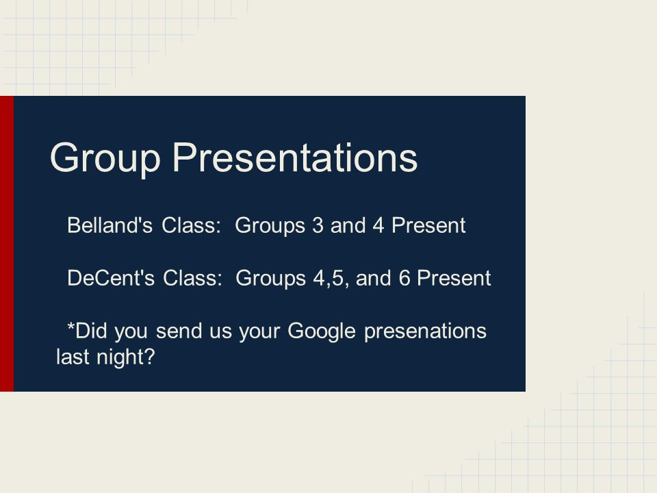 Group Presentations Belland s Class: Groups 3 and 4 Present DeCent s Class: Groups 4,5, and 6 Present *Did you send us your Google presenations last night