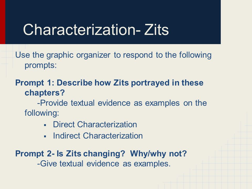 Characterization- Zits Use the graphic organizer to respond to the following prompts: Prompt 1: Describe how Zits portrayed in these chapters? -Provid