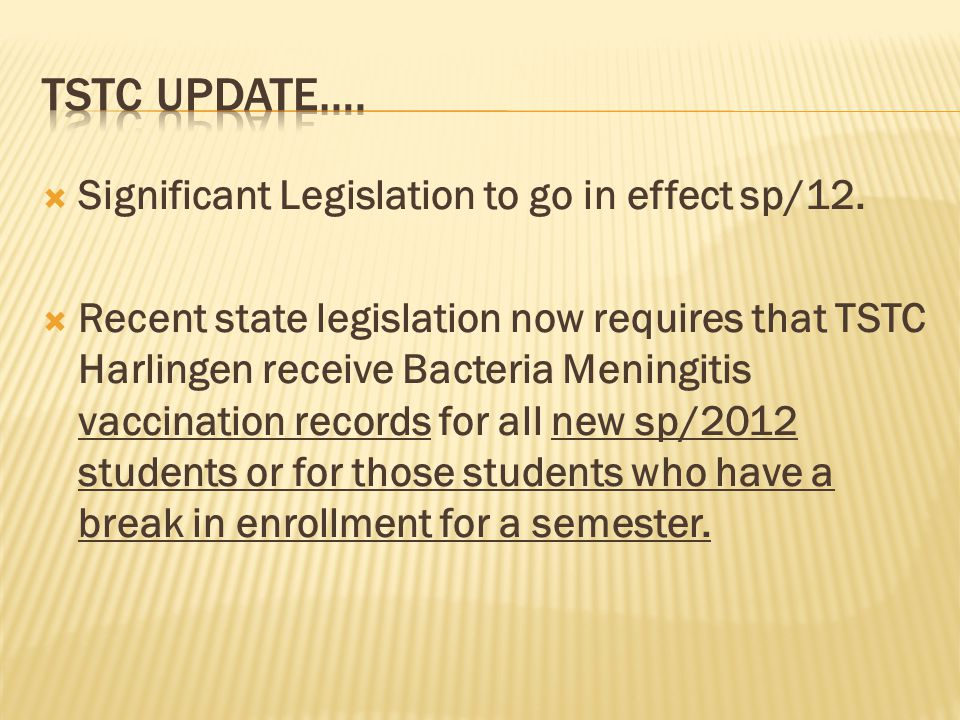  Significant Legislation to go in effect sp/12.