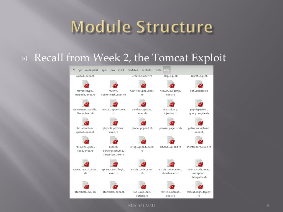  Recall from Week 2, the Tomcat Exploit MIS 5212.0018