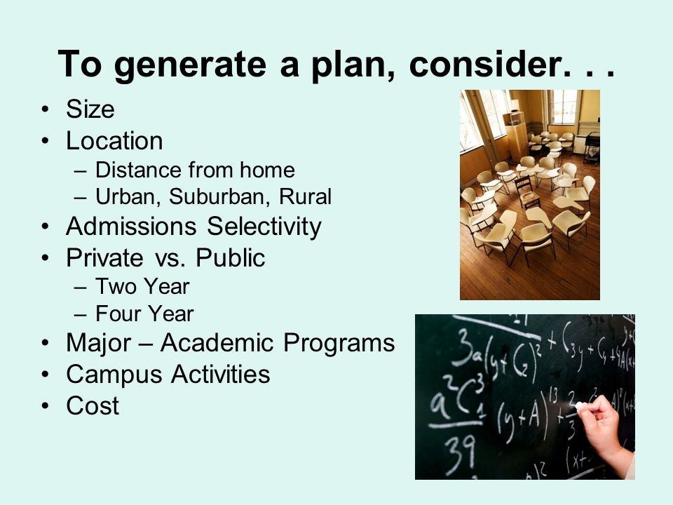 To generate a plan, consider...