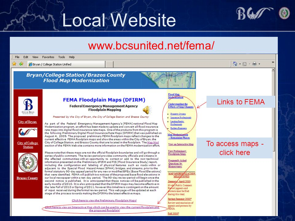 Local Website www.bcsunited.net/fema/ To access maps - click here Links to FEMA