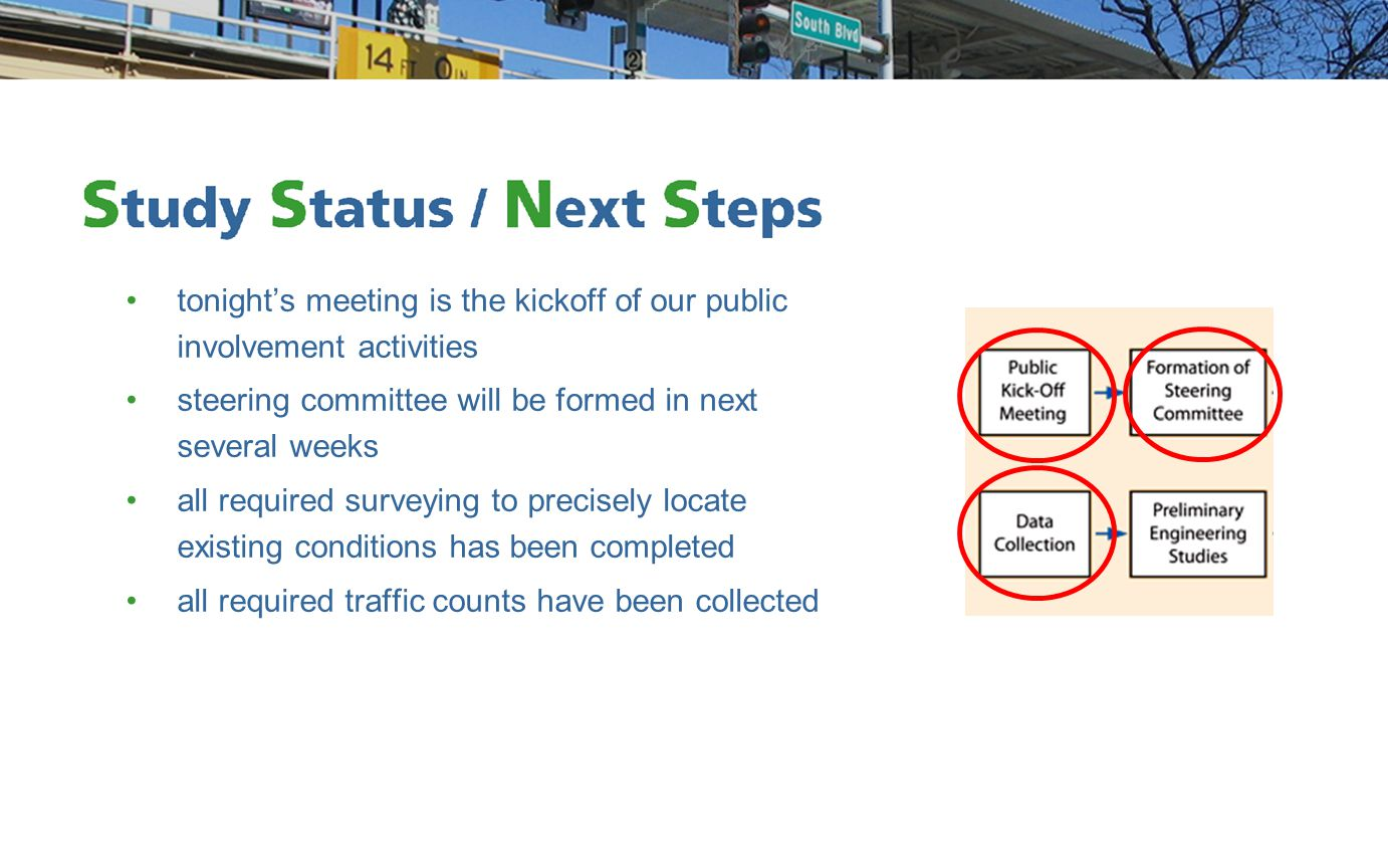 tonight's meeting is the kickoff of our public involvement activities steering committee will be formed in next several weeks all required surveying t