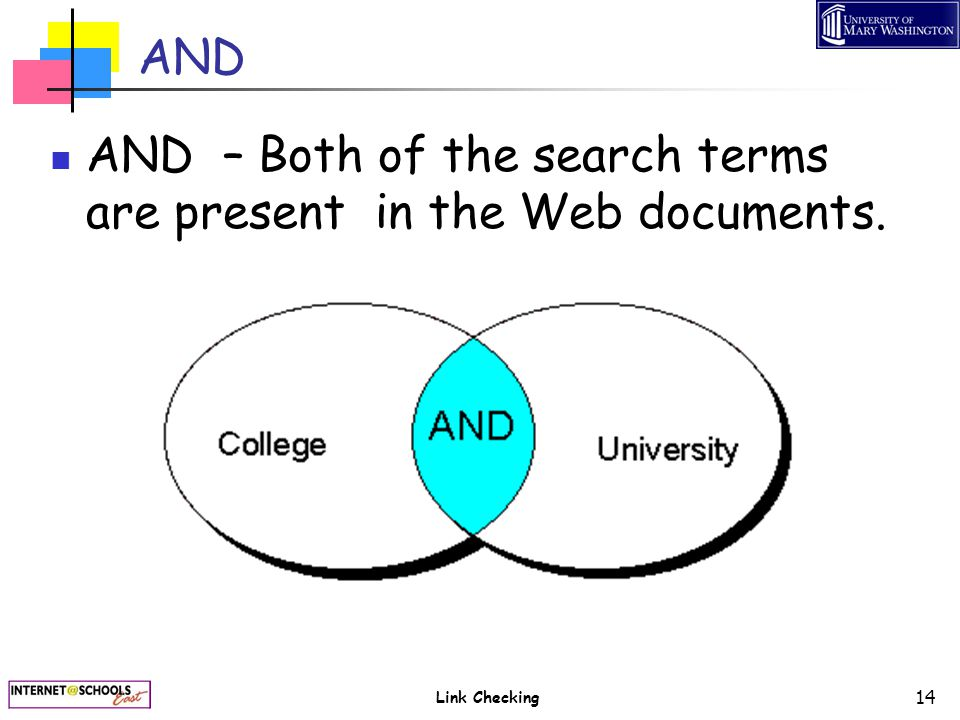 Link Checking 14 AND AND – Both of the search terms are present in the Web documents.