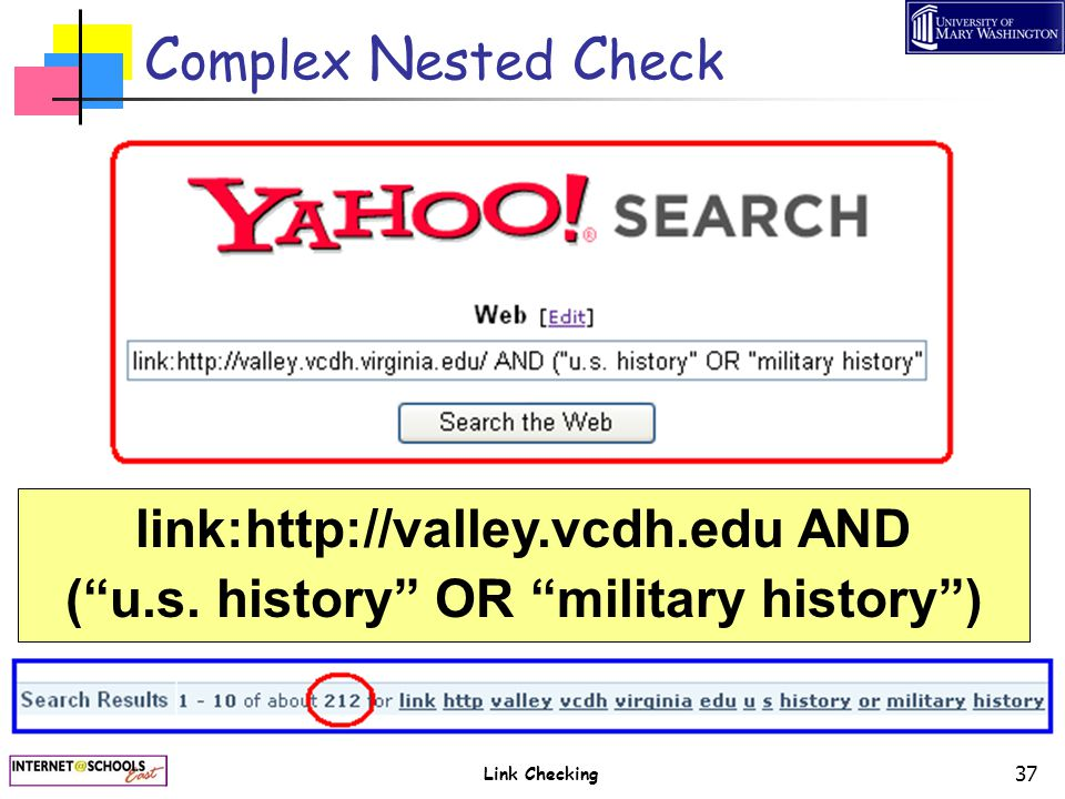 "Link Checking 37 C omplex N ested C heck link:http://valley.vcdh.edu AND (""u.s. history"" OR ""military history"")"