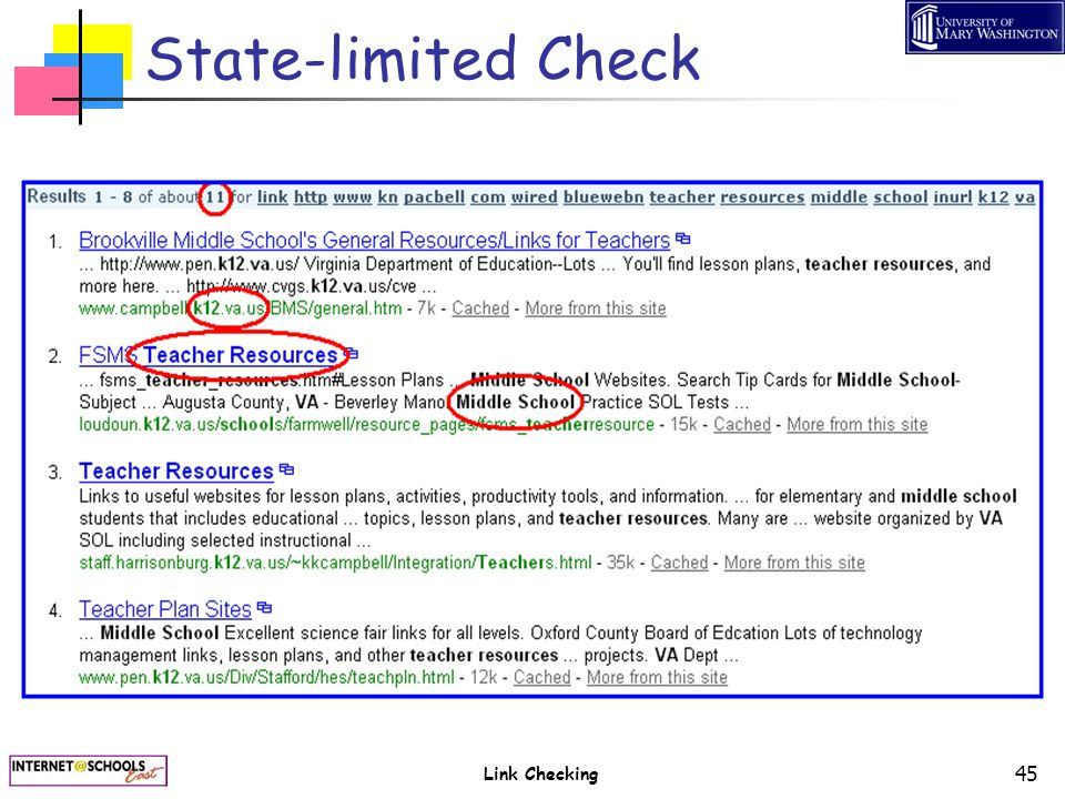 Link Checking 45 State-limited Check