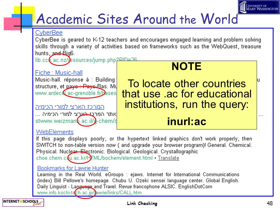 Link Checking 48 A cademic S ites A round the W orld NOTE To locate other countries that use.ac for educational institutions, run the query: inurl:ac