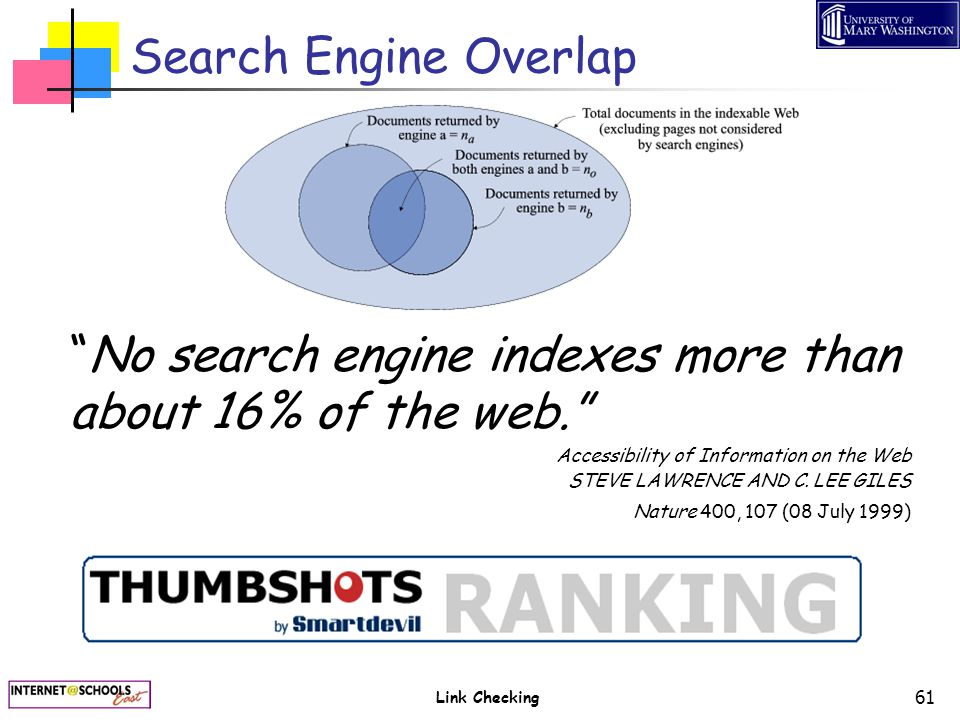 "Link Checking 61 Search Engine Overlap ""No search engine indexes more than about 16% of the web."" Accessibility of Information on the Web STEVE LAWREN"