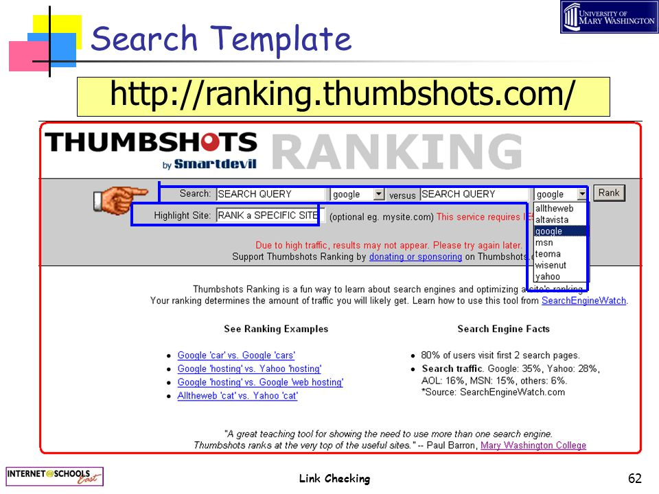 Link Checking 62 Search Template http://ranking.thumbshots.com/