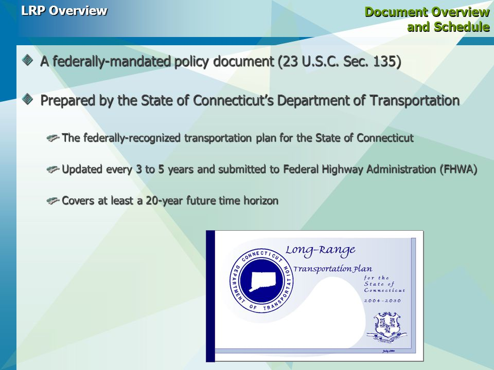 Document Overview and Schedule A federally-mandated policy document (23 U.S.C.