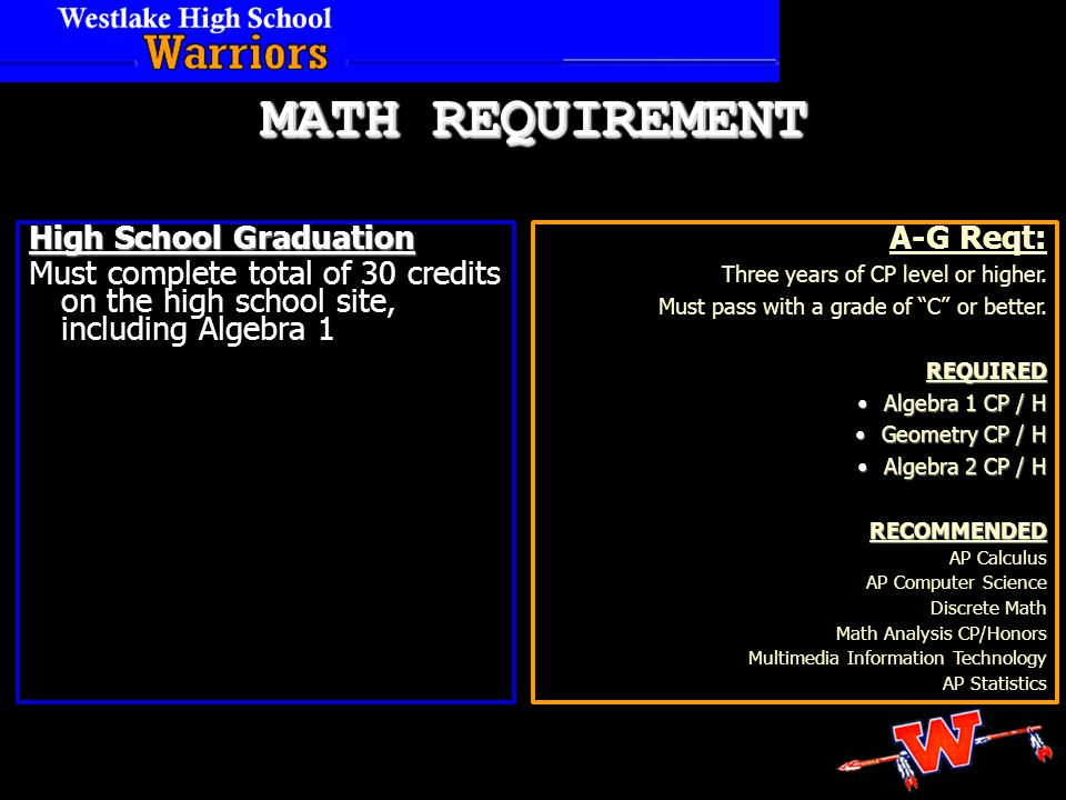 High School Graduation Must complete total of 30 credits on the high school site, including Algebra 1 A-G Reqt: Three years of CP level or higher.