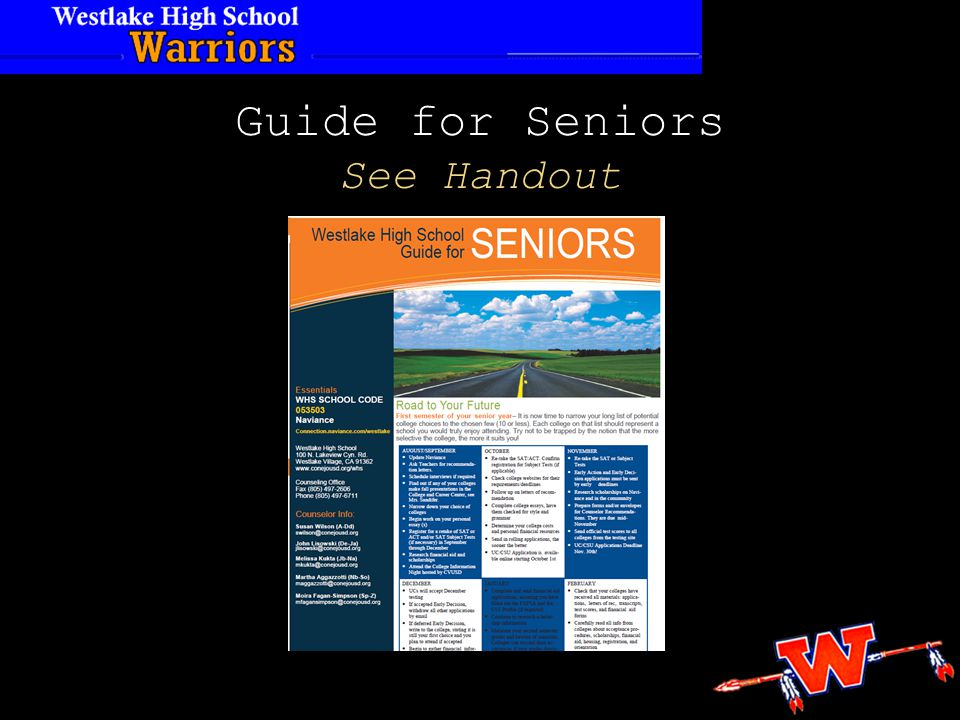 Guide for Seniors See Handout