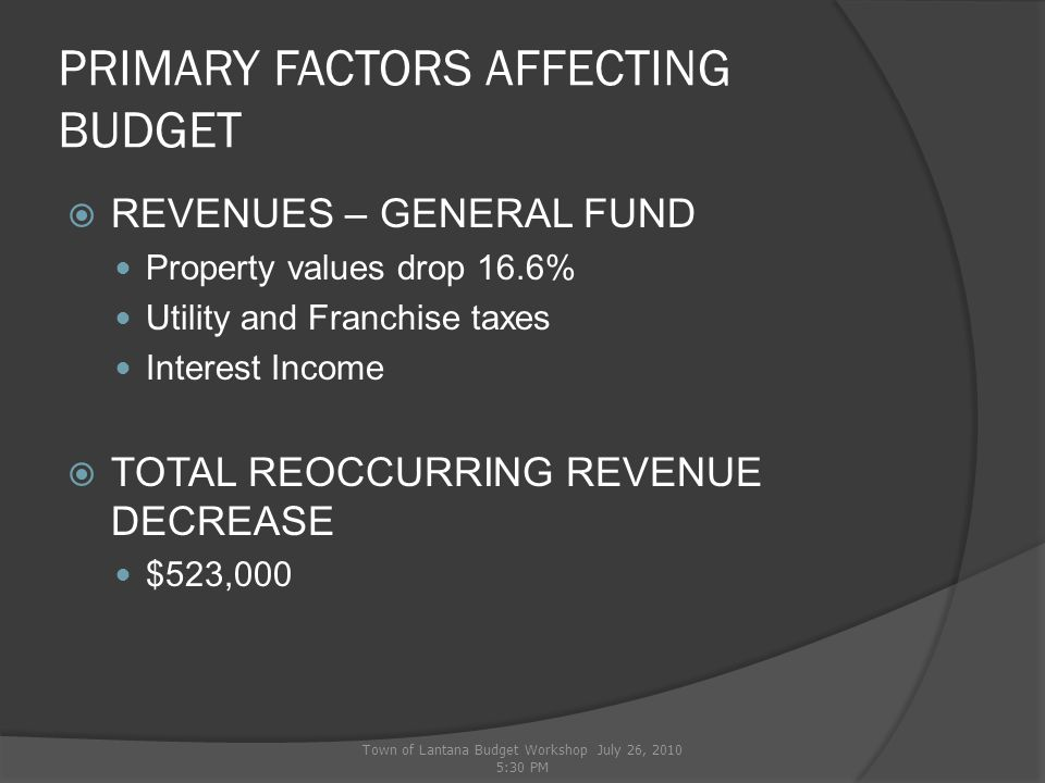 PRIMARY FACTORS AFFECTING BUDGET  REVENUES – UTILITY FUND Reoccurring revenues still projected to decrease $116k Town of Lantana Budget Workshop July 26, 2010 5:30 PM