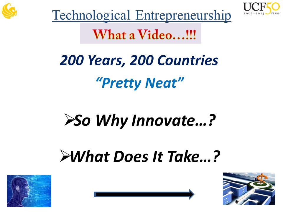 Technological Entrepreneurship 200 Years, 200 Countries Pretty Neat  So Why Innovate….