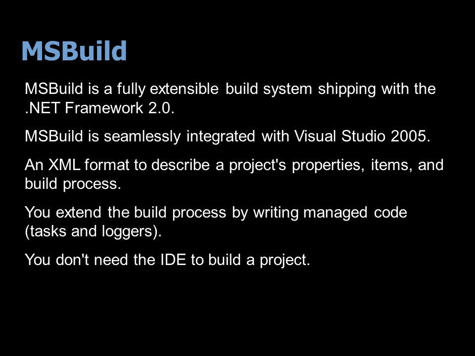Visual Studio.NET 2002/2003 7 Authors PROJECT FILE - $%#^$&% - @$#%$^# Abracadabra Feeds VS Build System Produces Final Product Pre build step 0011010101111001011011011001110010100111 Post build step VS Build System