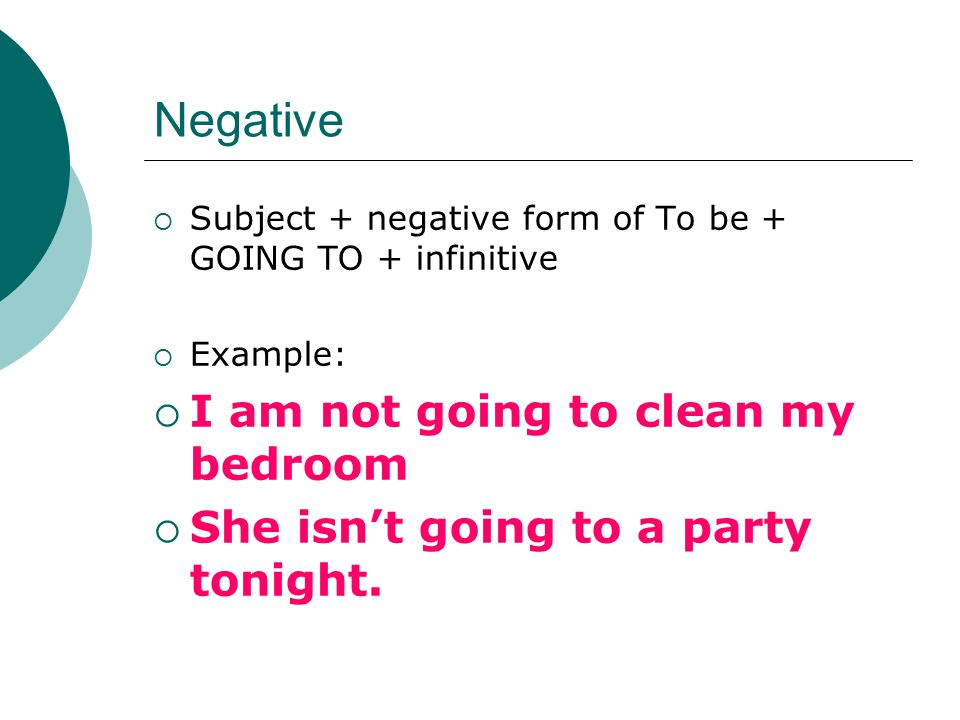 Negative  Subject + negative form of To be + GOING TO + infinitive  Example:  I am not going to clean my bedroom  She isn't going to a party tonight.
