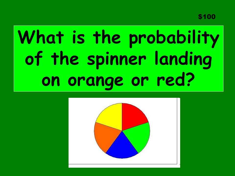 $100 What is the probability of the spinner landing on orange or red