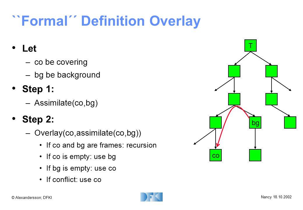 © Alexandersson; DFKI Nancy 18.10.2002 ``Formal´´ Definition Overlay Let –co be covering –bg be background Step 1: –Assimilate(co,bg) T bg co Step 2: