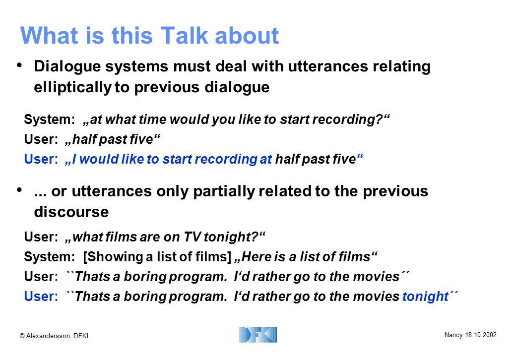 © Alexandersson; DFKI Nancy 18.10.2002 AP - Example Plan: VCR Goal: VCR_record VCR_checkMediumVCR_getChannelVCR_getStartTimeVCR_getEndTime VCR_rewindMedium