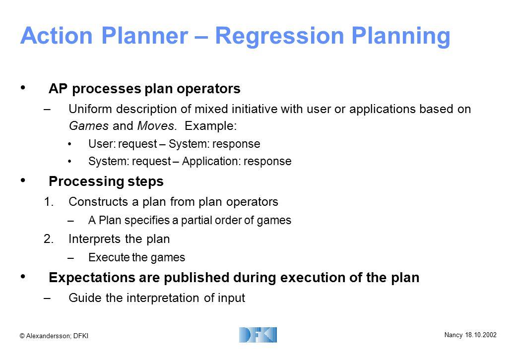 © Alexandersson; DFKI Nancy 18.10.2002 Action Planner – Regression Planning AP processes plan operators –Uniform description of mixed initiative with