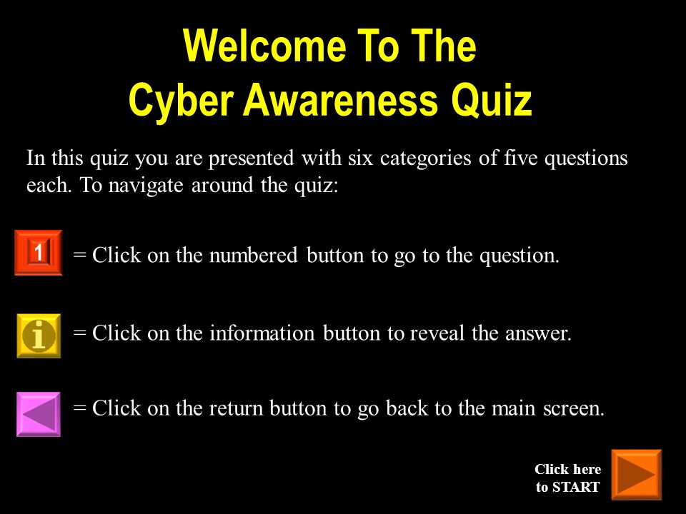 Welcome To The Cyber Awareness Quiz In this quiz you are presented with six categories of five questions each. To navigate around the quiz: = Click on