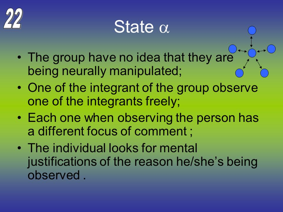 State  The group have no idea that they are being neurally manipulated; One of the integrant of the group observe one of the integrants freely; Each one when observing the person has a different focus of comment ; The individual looks for mental justifications of the reason he/she's being observed.