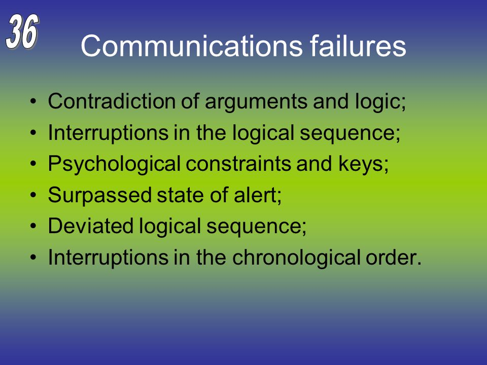 Communications failures Contradiction of arguments and logic; Interruptions in the logical sequence; Psychological constraints and keys; Surpassed state of alert; Deviated logical sequence; Interruptions in the chronological order.