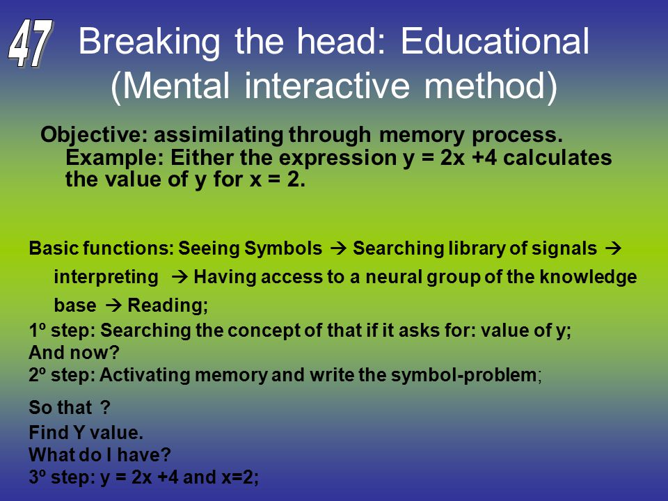 Breaking the head: Educational (Mental interactive method) Objective: assimilating through memory process.