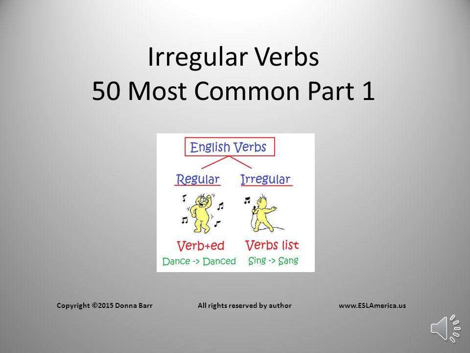Irregular Verbs 50 Most Common Part 1 Copyright ©2015 Donna BarrAll rights reserved by authorwww.ESLAmerica.us