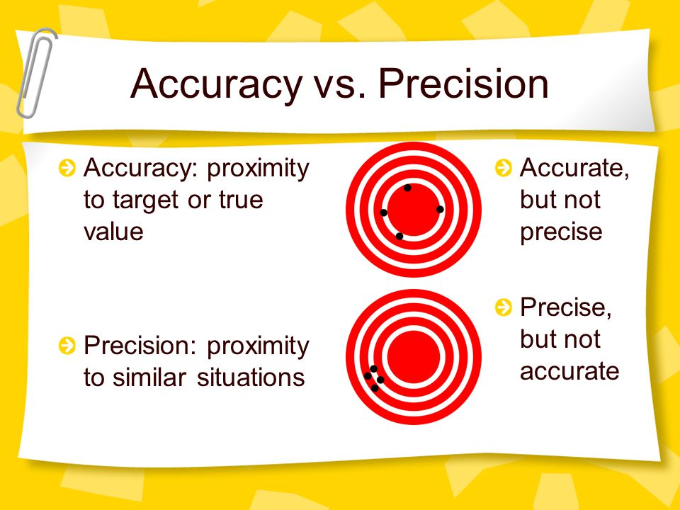 Accuracy vs. Precision Accuracy: proximity to target or true value Precision: proximity to similar situations Accurate, but not precise Precise, but n