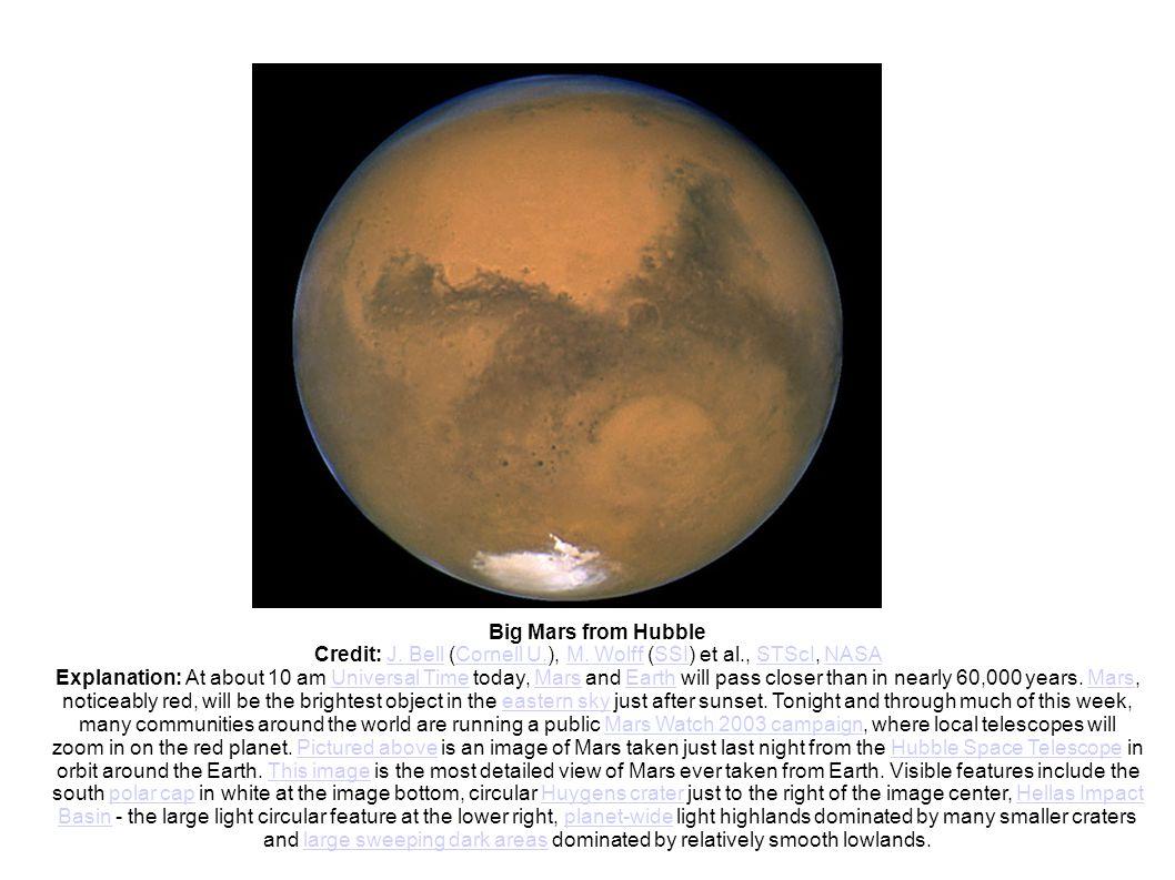 Big Mars from Hubble Credit: J. Bell (Cornell U.), M. Wolff (SSI) et al., STScI, NASAJ. BellCornell U.M. WolffSSISTScINASA Explanation: At about 10 am