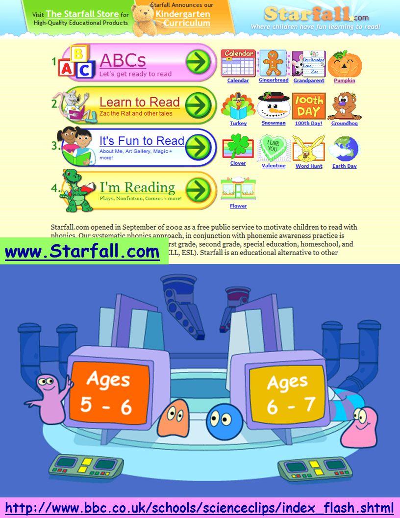 http://www.bbc.co.uk/schools/scienceclips/index_flash.shtml www.Starfall.com