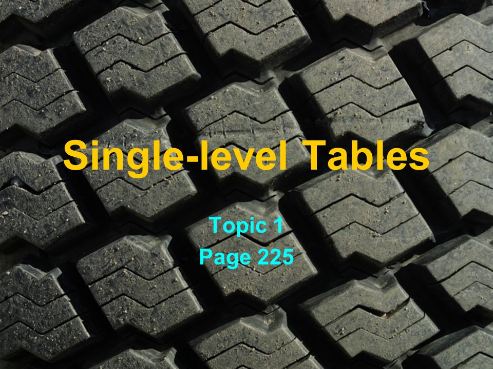 Single-level Tables Topic 1 Page 225
