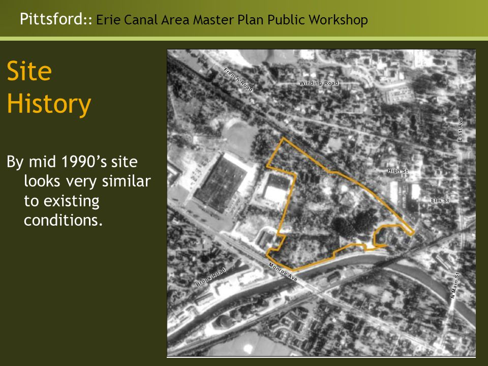 Pittsford :: Erie Canal Area Master Plan Public Workshop Site History By mid 1990's site looks very similar to existing conditions.