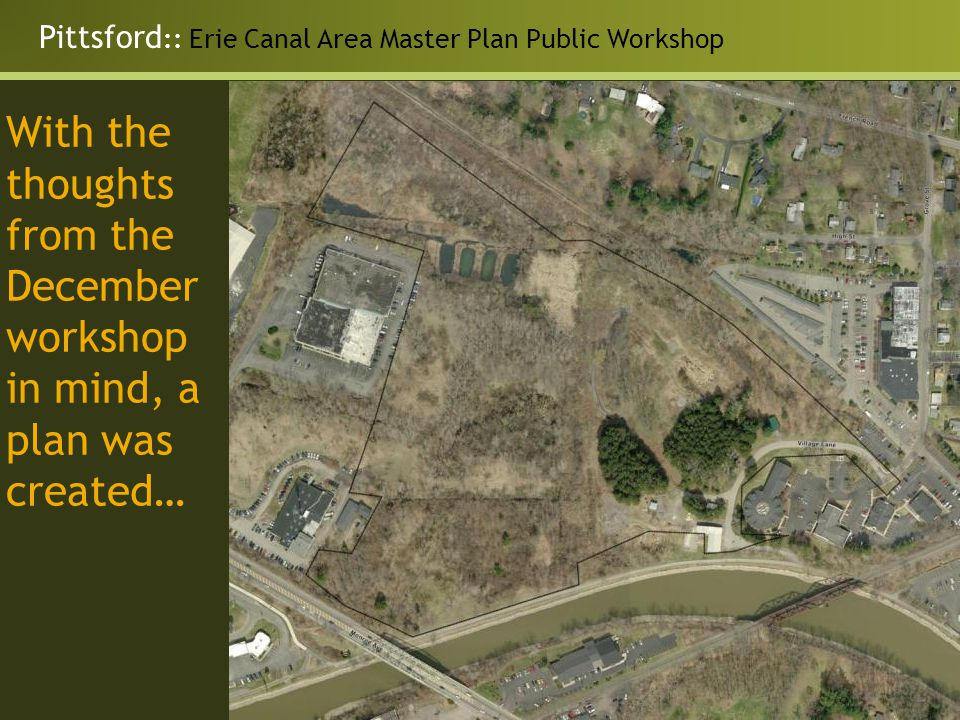 Pittsford :: Erie Canal Area Master Plan Public Workshop With the thoughts from the December workshop in mind, a plan was created…