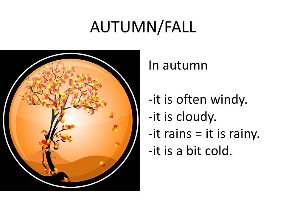 AUTUMN/FALL In autumn -it is often windy. -it is cloudy.