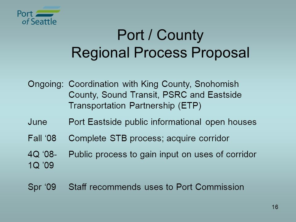 16 Port / County Regional Process Proposal Ongoing:Coordination with King County, Snohomish County, Sound Transit, PSRC and Eastside Transportation Partnership (ETP) JunePort Eastside public informational open houses Fall '08Complete STB process; acquire corridor 4Q '08-Public process to gain input on uses of corridor 1Q '09 Spr '09Staff recommends uses to Port Commission
