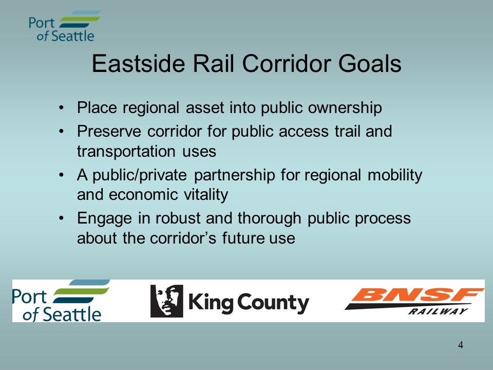 5 Corridor Characteristics Over 100 years old Over 40 miles from north Renton to Snohomish (including Redmond spur) Up to 100 feet wide; varies throughout Primarily single track rail Highly diverse geography: urban/rural; residential/commercial