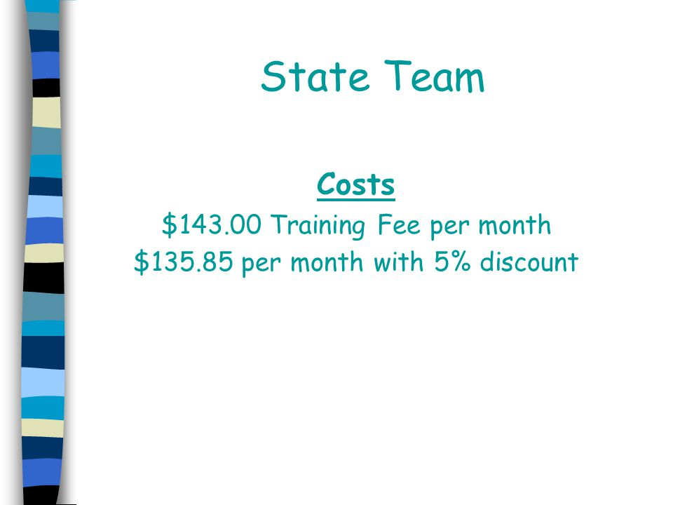 State Team Costs $143.00 Training Fee per month $135.85 per month with 5% discount