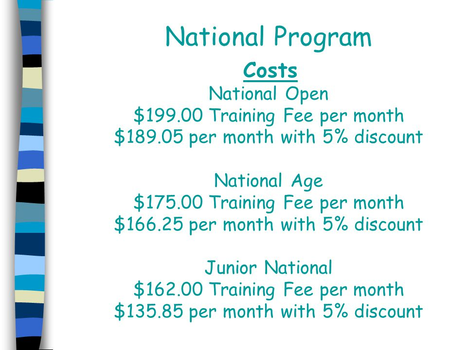National Program Costs National Open $199.00 Training Fee per month $189.05 per month with 5% discount National Age $175.00 Training Fee per month $166.25 per month with 5% discount Junior National $162.00 Training Fee per month $135.85 per month with 5% discount