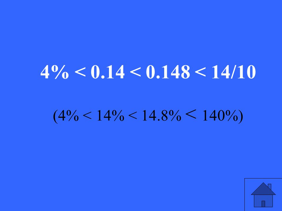 14/10, 0.14, 4%, 0.148 Rewrite these numbers in order from least to greatest