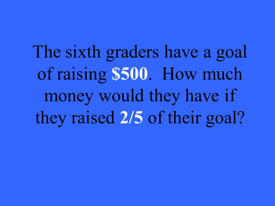 The sixth graders have a goal of raising $500.